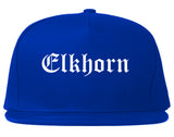 Elkhorn Wisconsin WI Old English Mens Snapback Hat Royal Blue