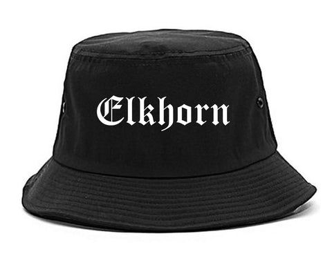 Elkhorn Wisconsin WI Old English Mens Bucket Hat Black