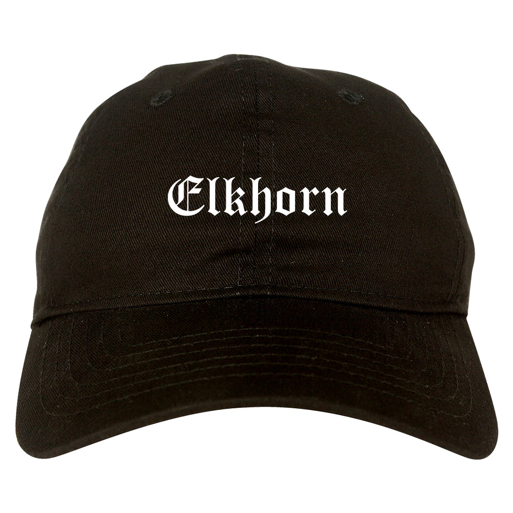 Elkhorn Wisconsin WI Old English Mens Dad Hat Baseball Cap Black