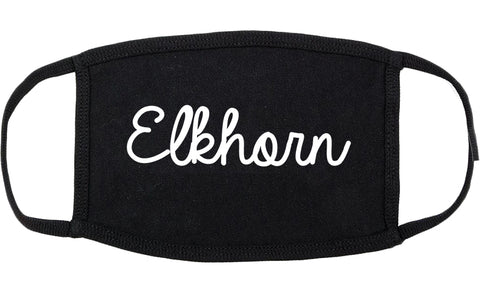 Elkhorn Wisconsin WI Script Cotton Face Mask Black