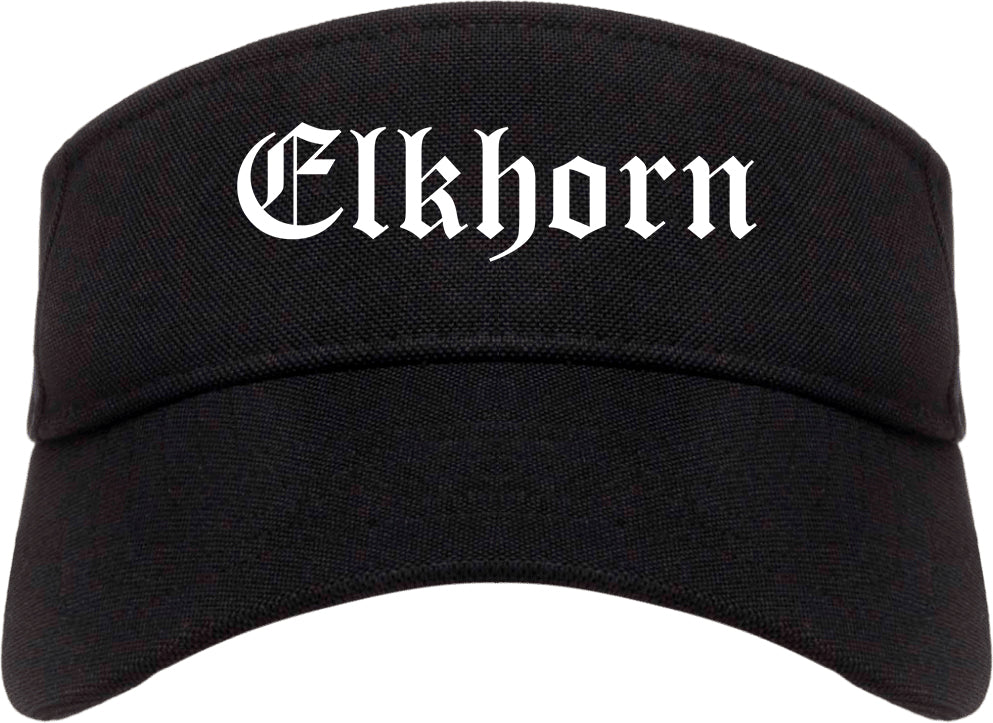 Elkhorn Wisconsin WI Old English Mens Visor Cap Hat Black