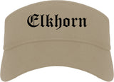 Elkhorn Wisconsin WI Old English Mens Visor Cap Hat Khaki