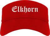 Elkhorn Wisconsin WI Old English Mens Visor Cap Hat Red
