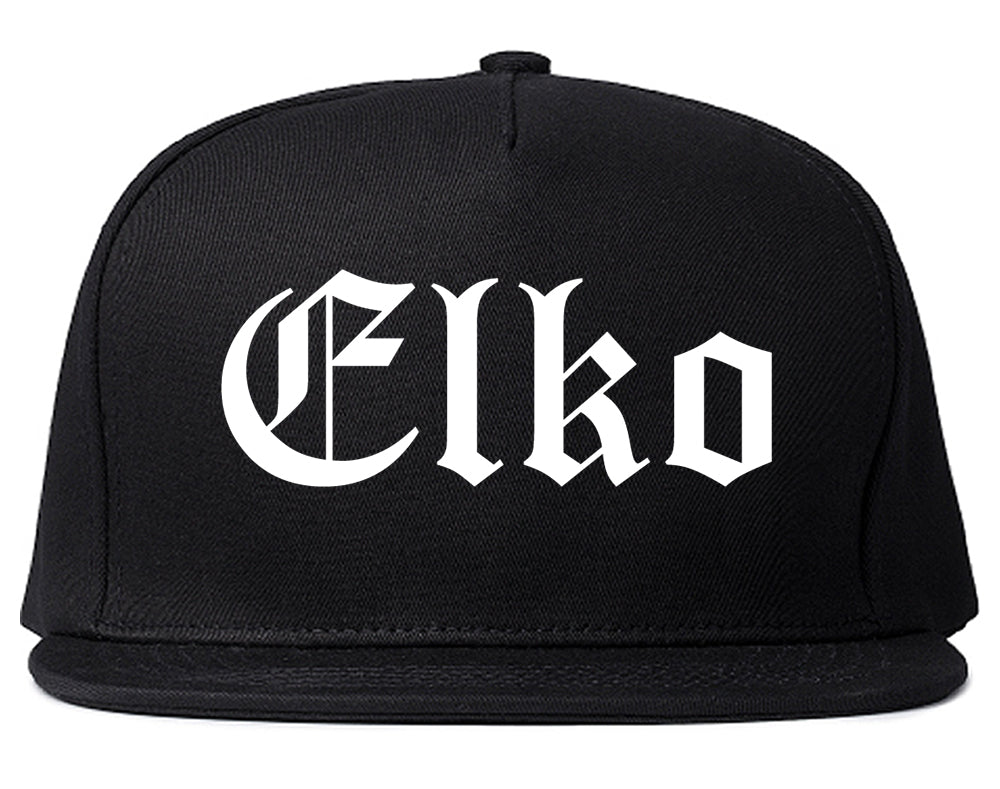 Elko Nevada NV Old English Mens Snapback Hat Black