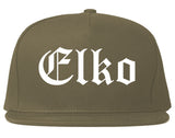 Elko Nevada NV Old English Mens Snapback Hat Grey