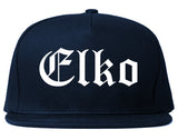 Elko Nevada NV Old English Mens Snapback Hat Navy Blue
