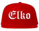 Elko Nevada NV Old English Mens Snapback Hat Red