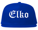 Elko Nevada NV Old English Mens Snapback Hat Royal Blue