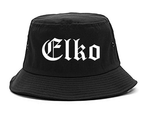 Elko Nevada NV Old English Mens Bucket Hat Black
