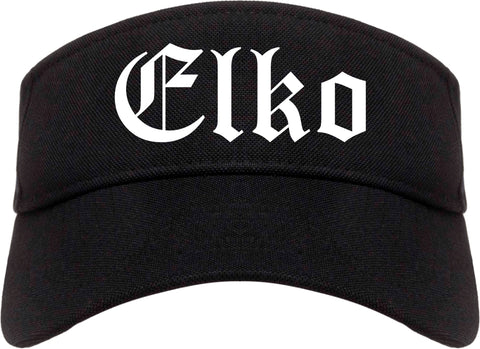 Elko Nevada NV Old English Mens Visor Cap Hat Black