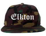 Elkton Maryland MD Old English Mens Snapback Hat Army Camo