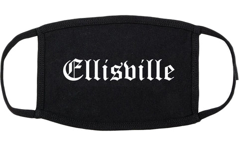 Ellisville Mississippi MS Old English Cotton Face Mask Black
