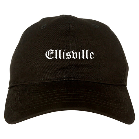 Ellisville Mississippi MS Old English Mens Dad Hat Baseball Cap Black