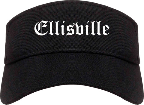 Ellisville Mississippi MS Old English Mens Visor Cap Hat Black