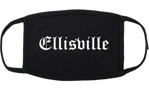 Ellisville Missouri MO Old English Cotton Face Mask Black