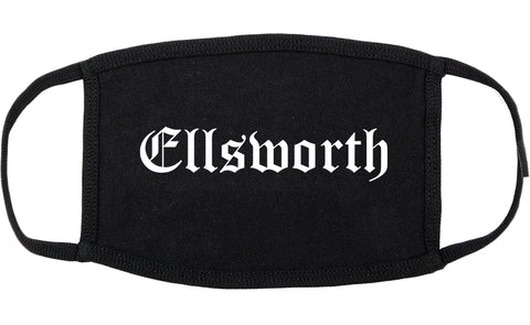 Ellsworth Maine ME Old English Cotton Face Mask Black