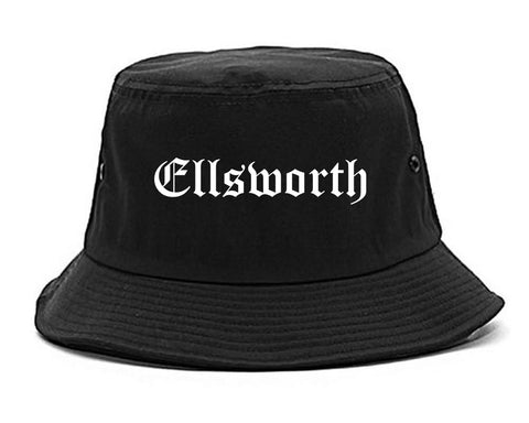 Ellsworth Maine ME Old English Mens Bucket Hat Black