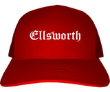 Ellsworth Maine ME Old English Mens Trucker Hat Cap Red