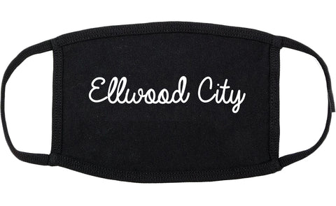 Ellwood City Pennsylvania PA Script Cotton Face Mask Black