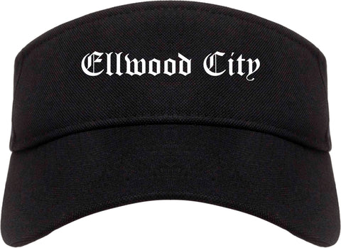 Ellwood City Pennsylvania PA Old English Mens Visor Cap Hat Black