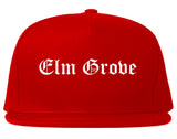 Elm Grove Wisconsin WI Old English Mens Snapback Hat Red