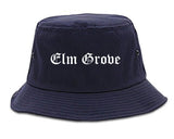 Elm Grove Wisconsin WI Old English Mens Bucket Hat Navy Blue