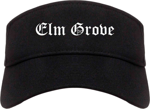 Elm Grove Wisconsin WI Old English Mens Visor Cap Hat Black