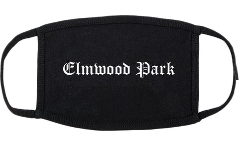 Elmwood Park New Jersey NJ Old English Cotton Face Mask Black