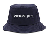Elmwood Park New Jersey NJ Old English Mens Bucket Hat Navy Blue
