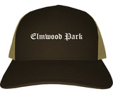 Elmwood Park New Jersey NJ Old English Mens Trucker Hat Cap Brown
