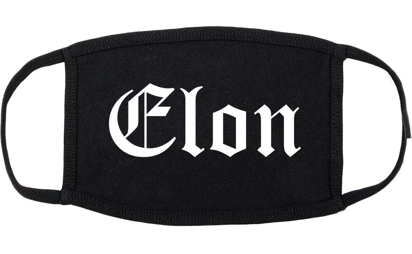 Elon North Carolina NC Old English Cotton Face Mask Black