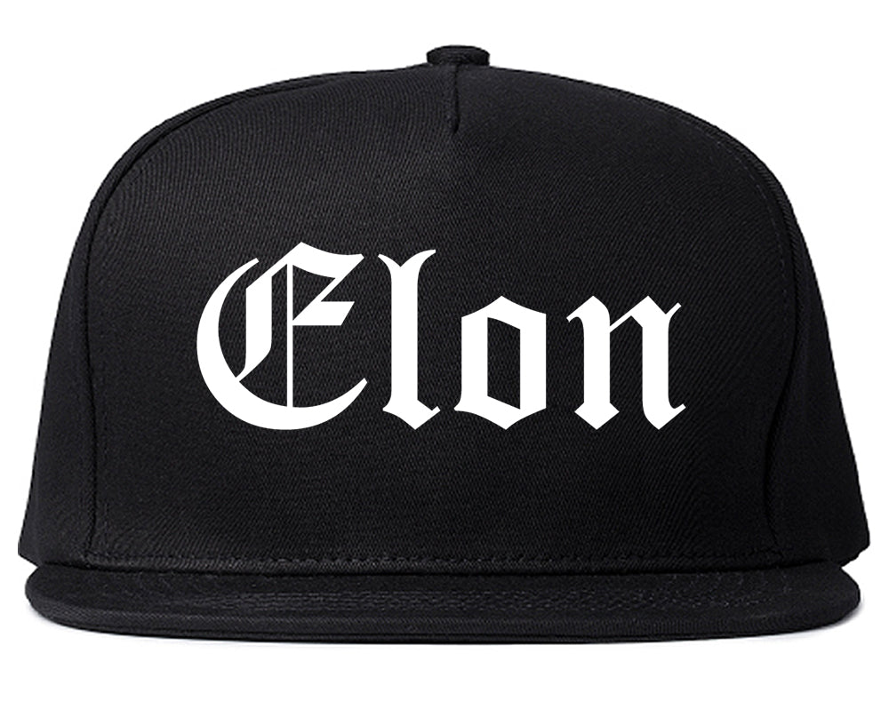 Elon North Carolina NC Old English Mens Snapback Hat Black