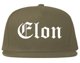 Elon North Carolina NC Old English Mens Snapback Hat Grey