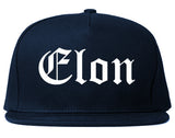 Elon North Carolina NC Old English Mens Snapback Hat Navy Blue
