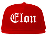 Elon North Carolina NC Old English Mens Snapback Hat Red