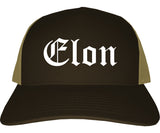 Elon North Carolina NC Old English Mens Trucker Hat Cap Brown