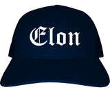 Elon North Carolina NC Old English Mens Trucker Hat Cap Navy Blue
