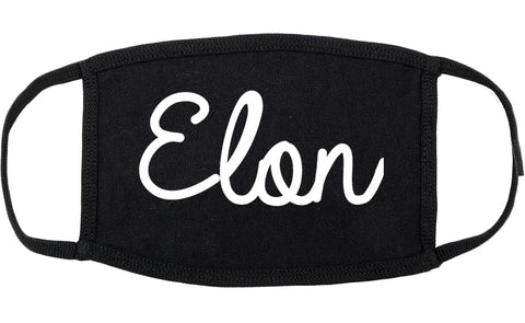 Elon North Carolina NC Script Cotton Face Mask Black