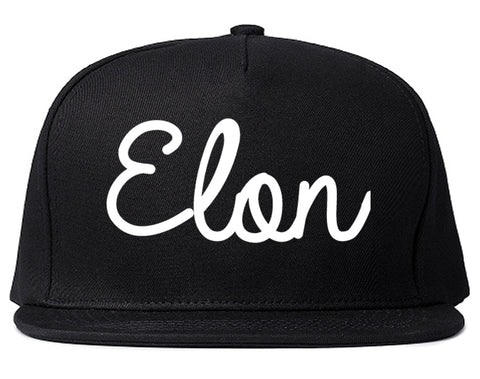 Elon North Carolina NC Script Mens Snapback Hat Black