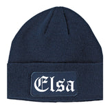 Elsa Texas TX Old English Mens Knit Beanie Hat Cap Navy Blue