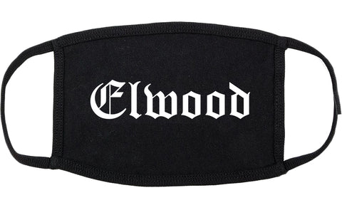 Elwood Indiana IN Old English Cotton Face Mask Black