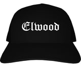 Elwood Indiana IN Old English Mens Trucker Hat Cap Black