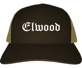 Elwood Indiana IN Old English Mens Trucker Hat Cap Brown