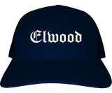 Elwood Indiana IN Old English Mens Trucker Hat Cap Navy Blue