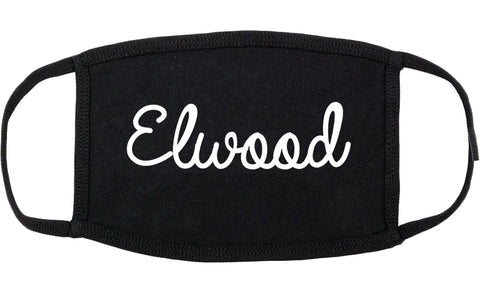 Elwood Indiana IN Script Cotton Face Mask Black
