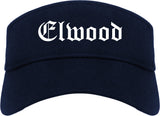 Elwood Indiana IN Old English Mens Visor Cap Hat Navy Blue