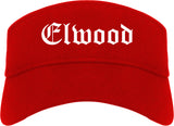 Elwood Indiana IN Old English Mens Visor Cap Hat Red