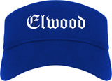 Elwood Indiana IN Old English Mens Visor Cap Hat Royal Blue