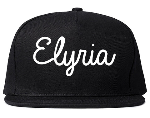 Elyria Ohio OH Script Mens Snapback Hat Black