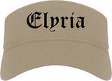 Elyria Ohio OH Old English Mens Visor Cap Hat Khaki